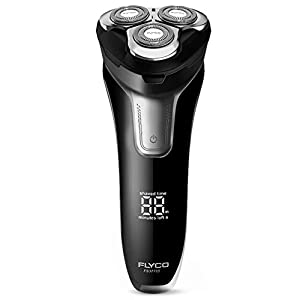 Electric Razor for Men, FLYCO Men's Rotary Shavers Wet & Dry Mens Razors with Pop-up Trimmer, Time Display, Quick Charge, Travel Lock, IPX7 Waterproof Electric Shaver for Men with Travel Case
