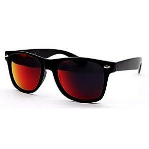 Sunglasses Classic 80's Vintage Style Design (Black Revo Dark Red)