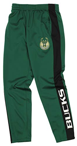 Outerstuff NBA Youth Boys (8-20) Side Stripe Slim Fit Performance Pant,  Milwaukee Bucks Medium (10-12)