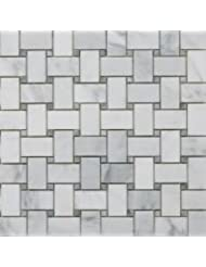 Bianco Carrara White Marble Polished Basketweave Mosaic Tile with Ming Green Dots - Sample Listing