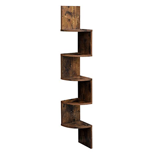 VASAGLE Corner Shelf, 5-Tier Floating Wall Shelf with Zigzag Design, Bookshelf, Rustic Brown ULBC20BX ()