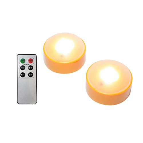 LED Pumpkin Lights with Remote and Timer, Battery Operated Bright Flickering Flameless Candles for Pumpkin Decor, Jack-O-Lantern Halloween Party Decorations,Orange Color, 2 Pack