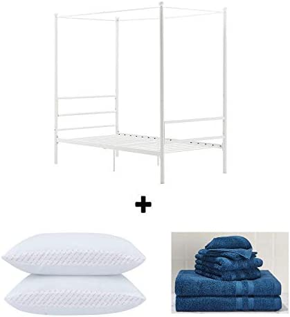 Mainstays Easy to Assemble Modern Design Sturdy Metal Frame Four Post Canopy Bed Queen, White Bundle Set