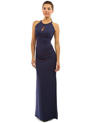 PattyBoutik Women Keyhole Ruched Sides Slit Maxi Dress (Navy Blue Small)