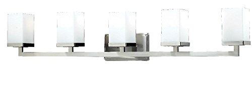 Z-Lite 1900-5V Tidal Five Light Vanity Light, Metal Frame, Brushed Nickel Finish and Matte Opal Shade of Glass Material from Z-Lite