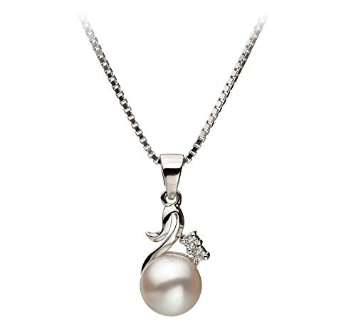 Ariana White 6-7mm AA Quality Japanese Akoya 925 Sterling Silver Cultured Pearl Pendant For Women ()