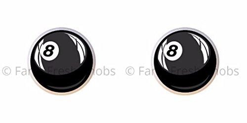 SET OF 2 KNOBS - #8 Pool Ball - Billiard Balls - DECORATIVE Glossy CERAMIC Cupboard Cabinet PULLS Dresser Drawer KNOBS ()