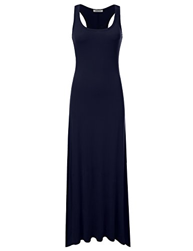 NINEXIS Women's Sleeveless Scoop Neck Racerback Tank Maxi Dress Navy L