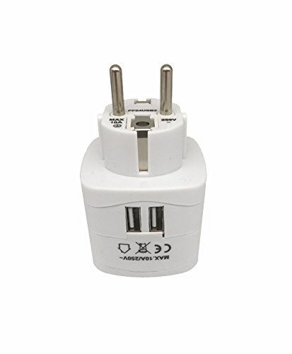 Sycon All-in-One International Travel Plug Adapter with Dual USB Ports (UP-9KU) - Great for iPhone/Smartphones/Laptops & More (US/EU/UK/AU Adapter/W USB) by Sycon (Image #3)