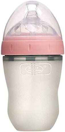 LYL Baby-Wide Mouth Silikon Milchflasche Bionic Milch Sense, 5 Unzen / 8 Unzen Rosa/grün UK2 (Color : Pink, Size : 240mL)