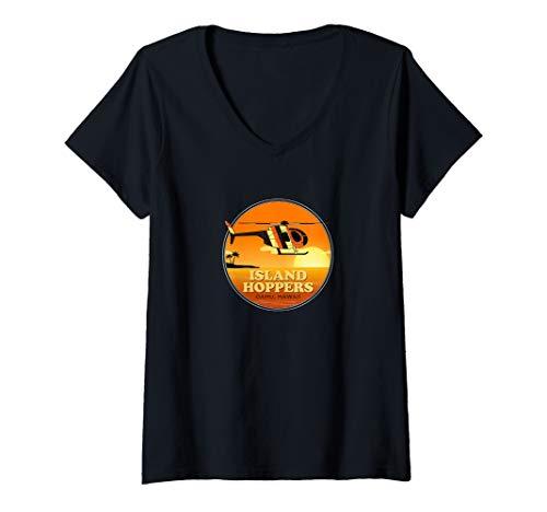 Womens Island Hoppers Classic 80's TV V-Neck T-Shirt
