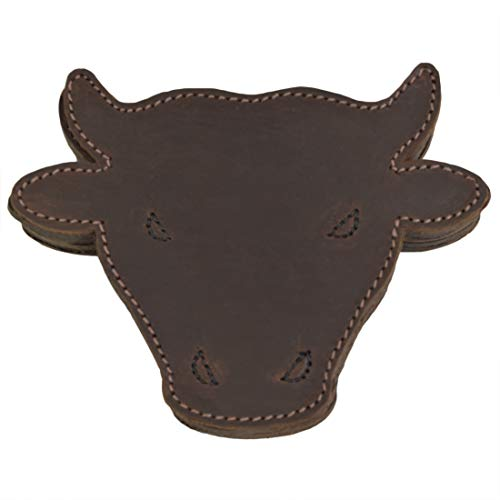 - Hide & Drink, Durable Thick Leather Raging Bull/Animal Farm Cute Shaped Coasters (6-Pack) Handmade Includes 101 Year Warranty :: Bourbon Brown
