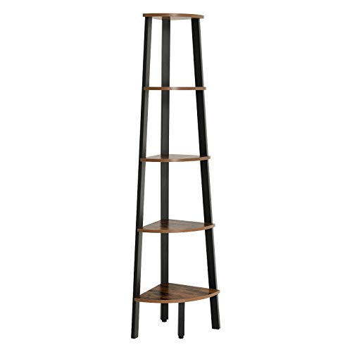 - VASAGLE Industrial Corner Shelf, 5-Tier Bookshelf, Plant Stand, Wood Look Accent Furniture with Metal Frame, for Home and Office ULLS35X, Rustic Brown