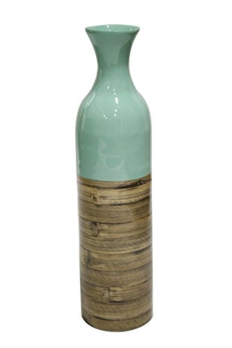 Heather Ann Creations W33913-MBLNT Handspun Bamboo Vase, Blue