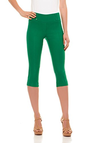 Velucci Womens Classic Fit Capri Pants - Comfortable Pull On Style With Detailed Design, Kelly Green-L