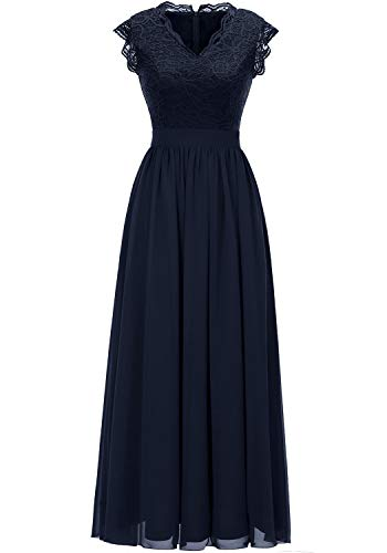 Lace Sleeveless Floor - Dressystar 0050 V Neck Sleeveless Lace Bridesmaid Dress Wedding Party Gown XL Navy