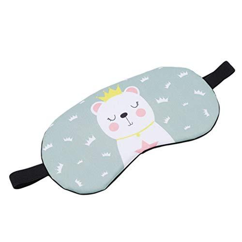 LZIYAN Cartoon Sleep Eye Mask Breathable Cute Animal Pattern Sleeping Mask Travel Sleeping Blindfold Nap Cover Gift For Everyone,Green Crown Bear by LZIYAN (Image #2)