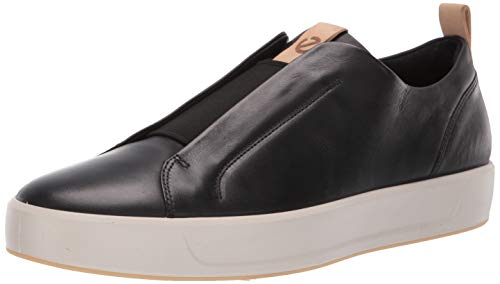 (ECCO Men's Soft 8 Slip On Sneaker, Black/Powder LX, 43 M EU (9-9.5 US))