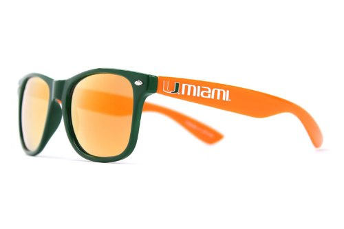 NCAA Miami Hurricanes MIAFL-4 Green Front Temple, Orange Lenses Sunglasses, One Size, Green ()