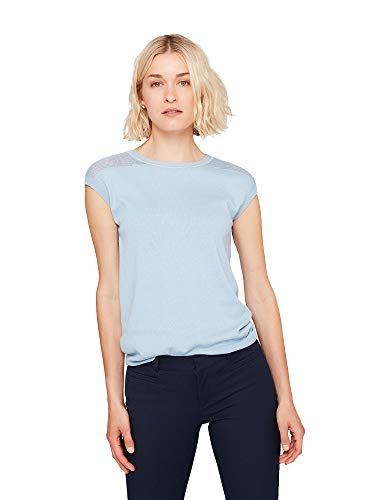 (State Cashmere Women's Crew-Neck Knitted Pattern Cotton Cashmere Short Sleeve T-Shirt Baby Blue)