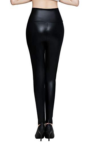 Pelisy Leggings Simili Cuir Femme Sexy Noir Effet Taille Haute Immitation Pantalon