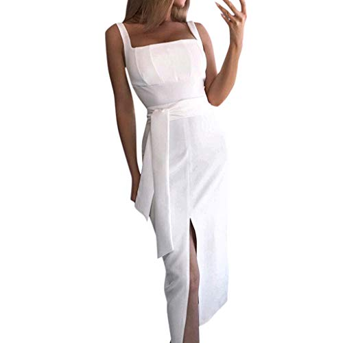 Women's Suspender Dress Sleeveless Strap Belted Wrap Split Hem Holiday Party Sundress Bohemian White
