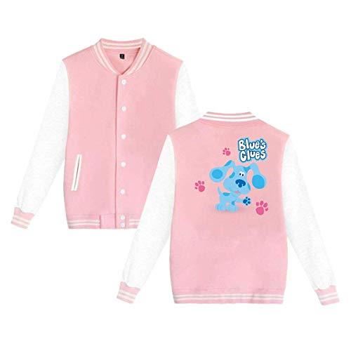 Blue's Clues Dog Mens & Womens Vintage Hoodie Baseball Uniform Jacket Sport Coat Pink ()