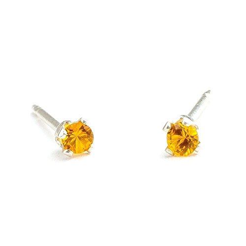 November Birthstone Earrings (3mm Tiny Yellow Orange Topaz Gemstone Post Stud Earrings in Sterling Silver - November Birthstone)