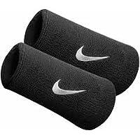 Muñequeras de doble ancho de Nike con logo, de color negro