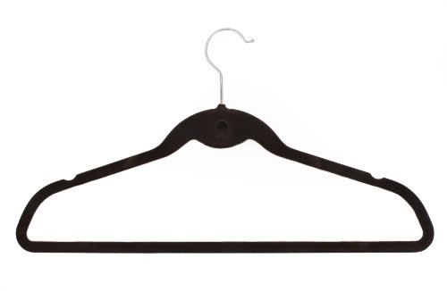10 Glamour Collection Velvet Slimline Hangers--Set of 10 Universal Hangers (Chocolate Brown)