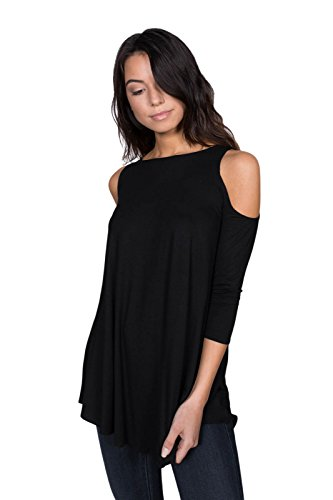 (A+D Womens Sexy Jersey 3/4 Sleeves Cold Shoulder Blouse Top (S-XL) (Black, Large) )