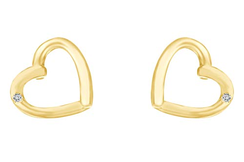 Heart Diamond Earrings Open (Round Cut White Natural Diamond Accent Open Heart Stud Earrings In 14k Yellow Gold Over Sterling Silver)