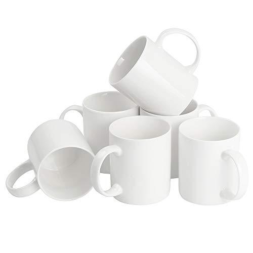 - Momugs 12 oz Cup (6pcs), Plain Gloss White Ceramic Coffee Mug for Milk Tea, Set of 6
