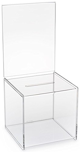 Displays2go Set of 2, 8-1/2 x 19-1/2-Inch Clear Acrylic Ballot Box, For Countertop Use, With A Sign Frame (CBBSH87) by Displays2go