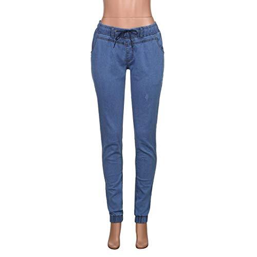 Casual Color Bolsillos Denim Azul Elástico Oscuro Sólido Pantalones Con Battercake Blau Apretado Largo Hombre Cómodo Negro Jeans 1SxvYU