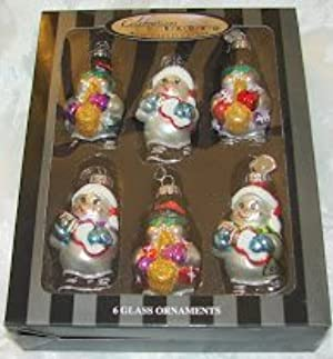 Radko Celebrations Snowman with Musical Instruments Christmas Glass Ornament Boxed Set of 6