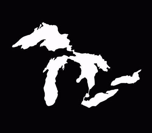 Michigan Great Lakes State Decal Window Sticker Car Truck White, Die Cut Vinyl Decal for Windows, Cars, Trucks, Tool Boxes, laptops, MacBook - virtually Any Hard, Smooth Surface