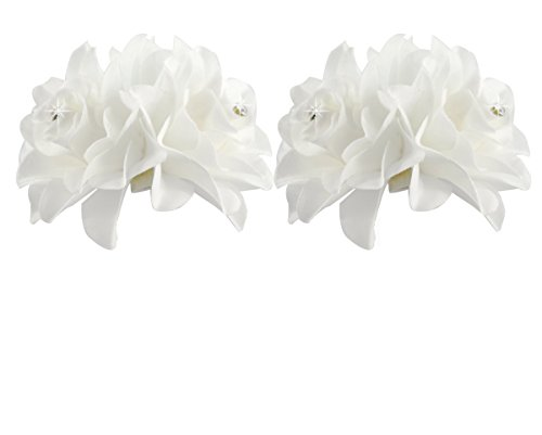 DreamLily Women's Girl Bridal Lily crystal Hair Flower Clip Barrette for Wedding Party (2 Pack of White)