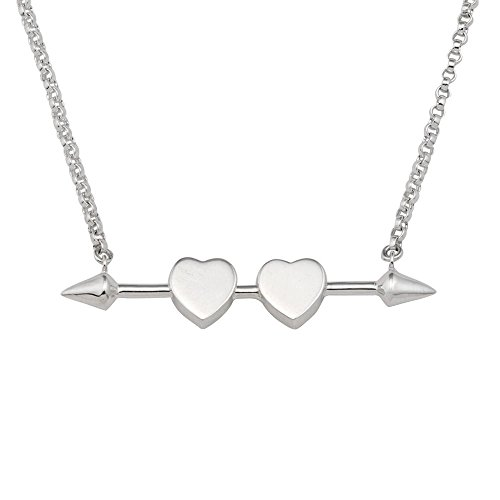 Mignon Faget Sweethearts Bar Necklace, Sterling Silver Cupid's Arrow and Heart Bar Necklace, 16'' - 18'' by Mignon Faget