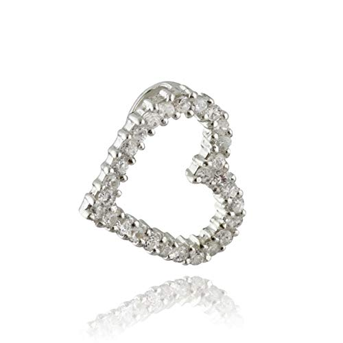 Heart Pendant - 925 Sterling Silver - Clear CZ Stones Sideways Hanging - Jewelry Accessories Key Chain Bracelets Crafting Bracelet Necklace Pendants