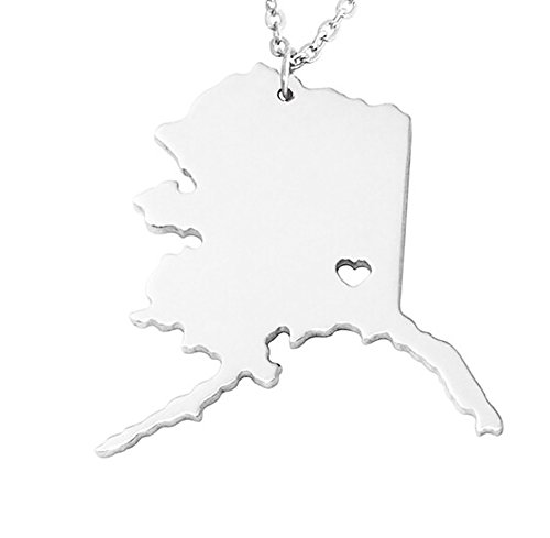 18K Gold Silver Country Map Charm Pendant State of Alaska Map Necklace Jewelry (Silver) ()