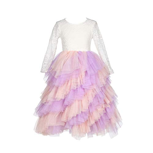 (Flower Girls Tutu Lace Cake Dress Skirts Princess Birthday Party Dresses (Pink+Lavender, 5-6T))