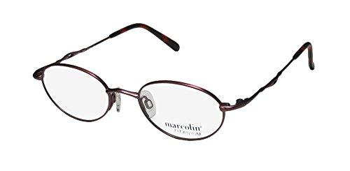 Marcolin 2030 Mens/Womens Optical Light Weight Designer Full-rim Titanium Flexible Hinges Eyeglasses/Eyewear (46-18-130, Red Bronze)