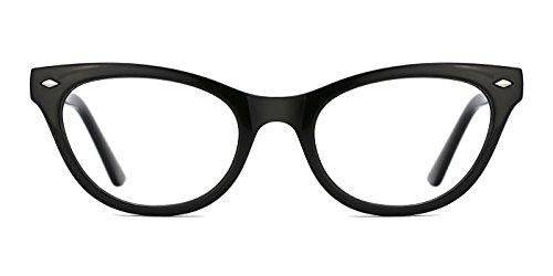 TIJN Super Inspired Mod Fashion Cat Eye Glasses Clear Color Translucent Eyewear Frame (Black, ()