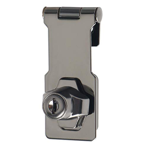 Alise 3-Inch Clasp Keyed Hasp Latch Lock Safety Gate Latches,Without Padlock,Black