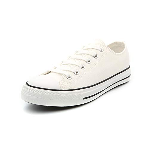 (Men Classic Canvas Shoes Casual Low Top Lace Up Fashion Comfortable Walking Sneakers (12 M US, White))