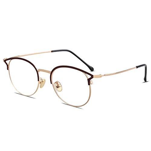 SOJOS Cateye Blue Light Blocking Eyeglasses Frame Anti-eyestrain, Anti Glare Glasses for Women Oasis with Brown Frame/Gold Rim