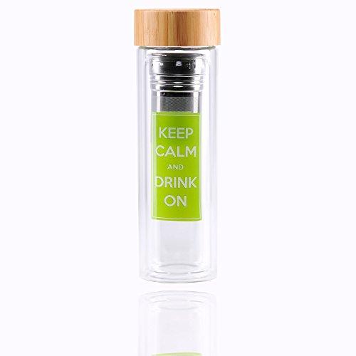 Teeflasche Glas Teekanne Teebereiter Trinkflasche Teesieb Teezubereiter Tea Maker Coffee to go Tee-Glas doppelwandig mit Sieb Bambus Deckel Thermobecher Design Detox BPA-frei von LUXAMEL (450 ml)