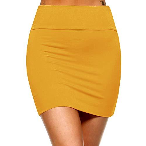 Fashionazzle Women's Casual Rayon Stretchy Bodycon Pencil Mini Skirt (Medium, -