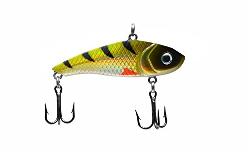 Dynamic Lures HD Ice Fishing Lure | 2.00 Inch 0.20 Oz | Vertical Jig Winter Lure | (2) - Size 10 Treble Hooks | for Fishing Bass, Trout, Walleye, Carp | Count 1 | (Perch)